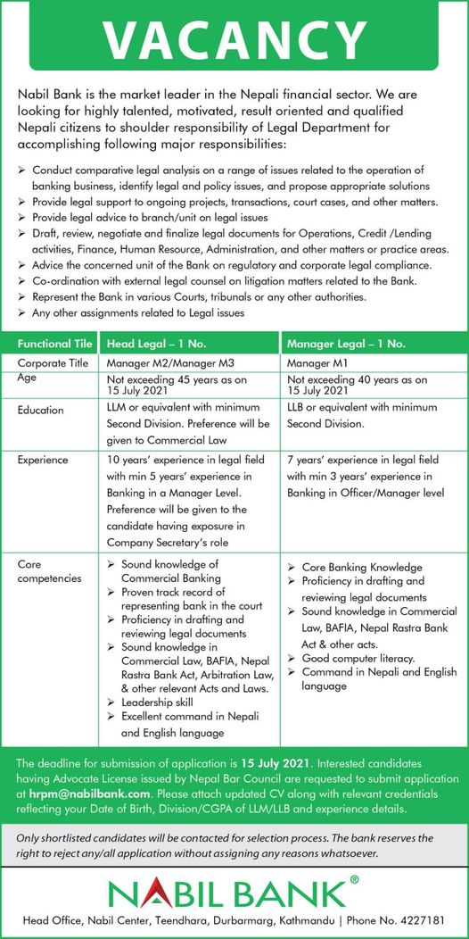 Nabil Bank Limited Job Vacancy for Legal Head and Legal Manager