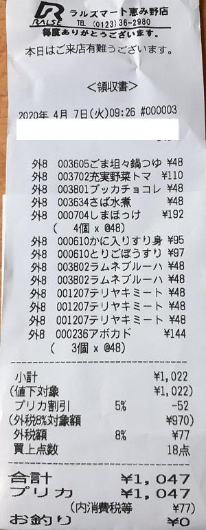 ラルズマート 恵み野店 2020/4/7 のレシート