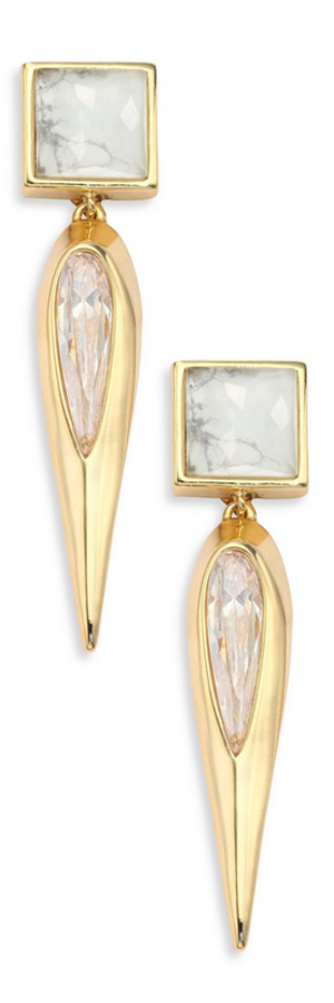 Alexis Bittar Miss Havisham Deconstructed Deco Howlite & Crystal Clip-On Drop Earrings