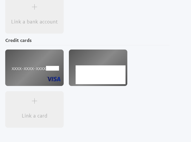 Card linked successfully to paypal