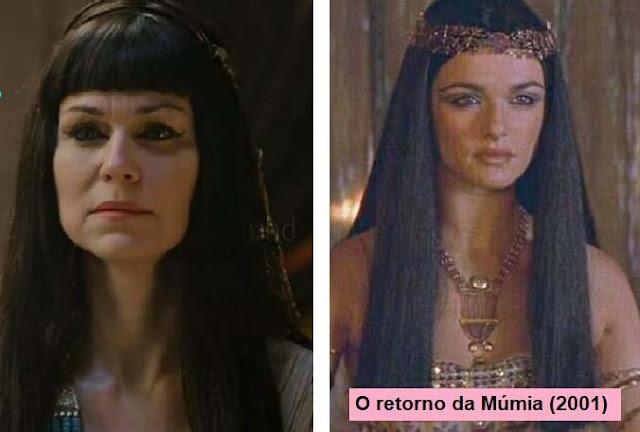 Sarai de egipcia e ao lado foto do filme O retorno da mumia mesmo cabelo