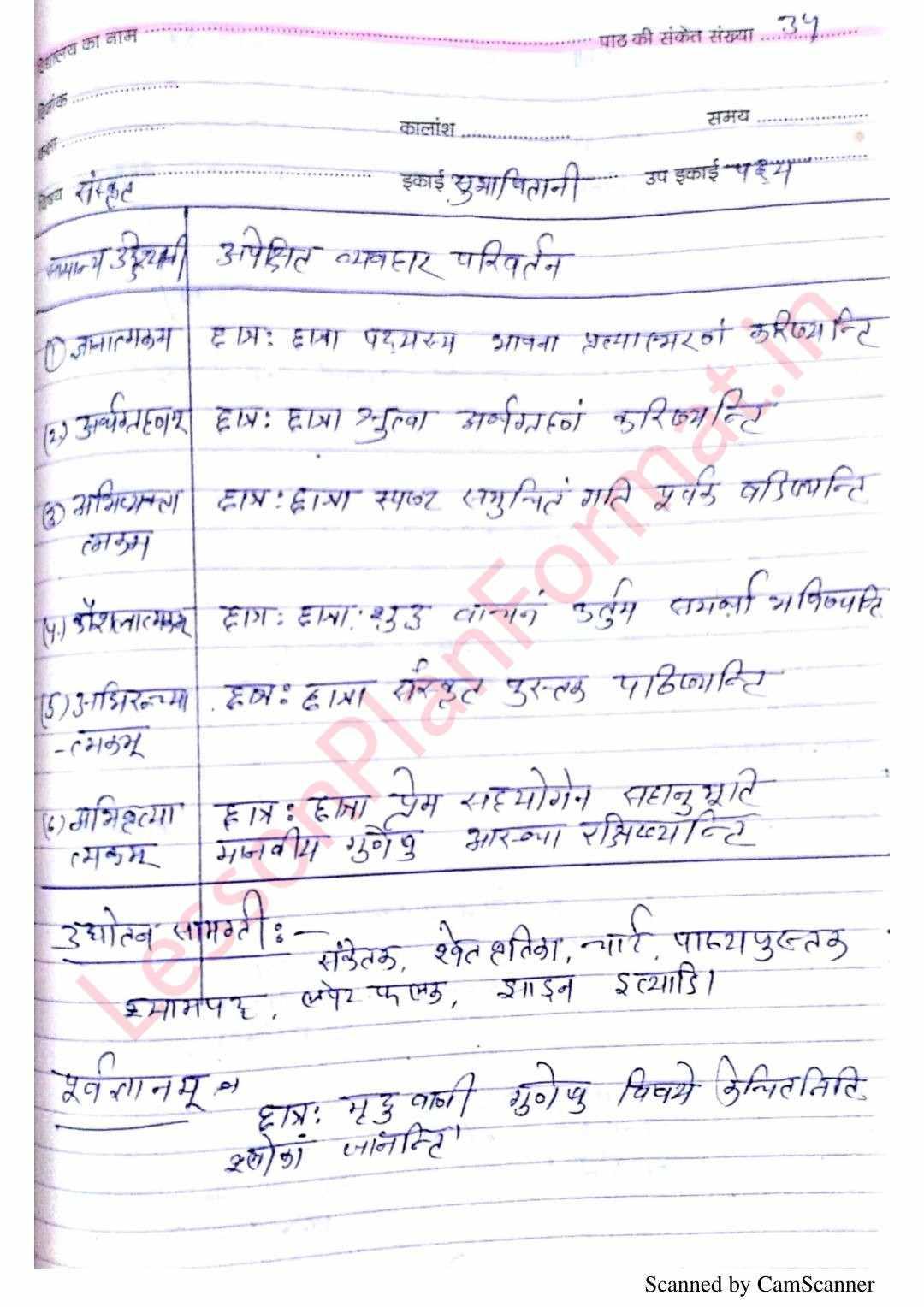 Sanskrit Lesson Plan Class 7-B Ed-Bstc-btc