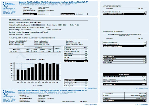 consultar valor planillas facturas luz guayaquil