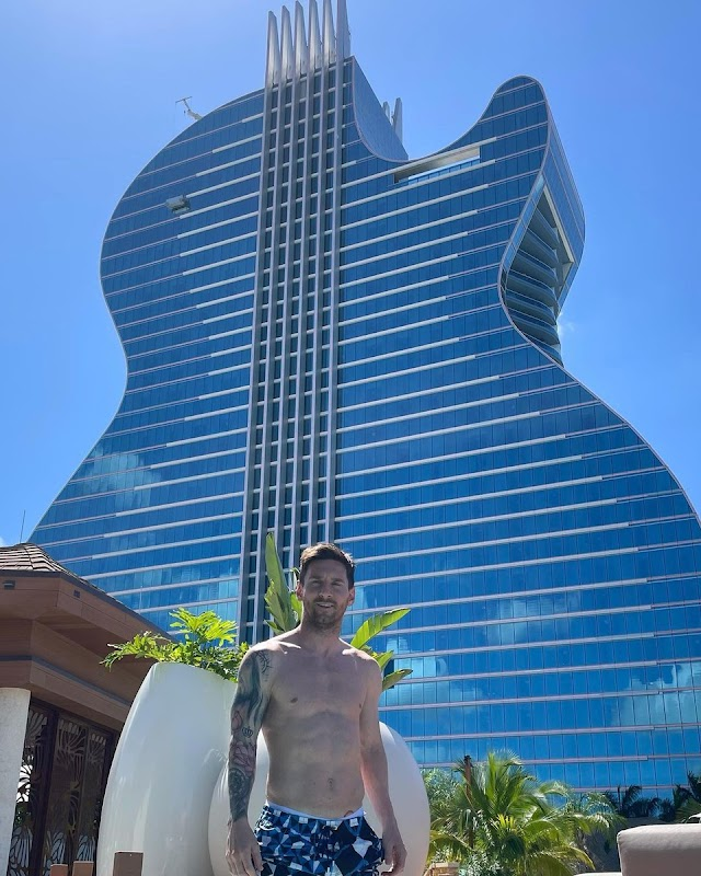 Messi's family rests at a guitar-shaped hotel in the US