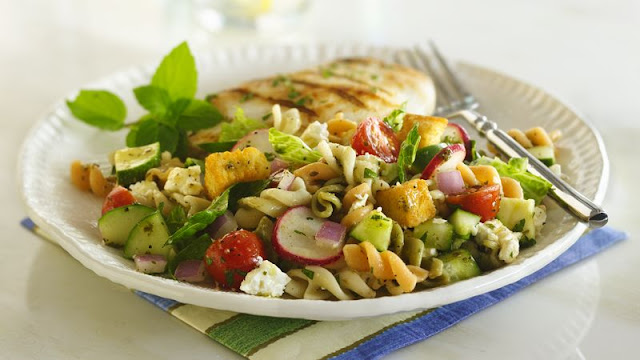 Take a taste adventure with a middle eastern Mediterranean Fattoush Pasta Salad Recipe