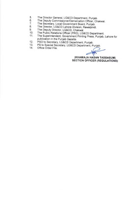DEMARCATION OF TEHSIL COUNCILS AND ABOLISHED TOWN COMMITTEES OF DISTRICT CHAKWAL