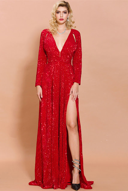 red sequins long sleeve prom dress