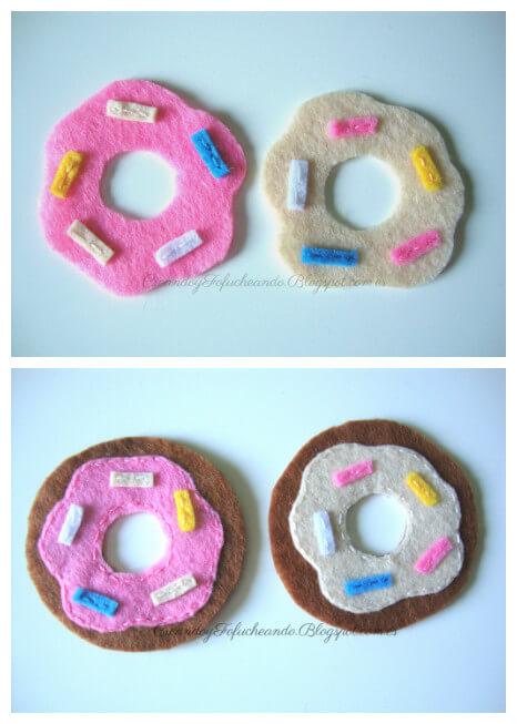 paso a paso cosemos los mini donuts de fieltro