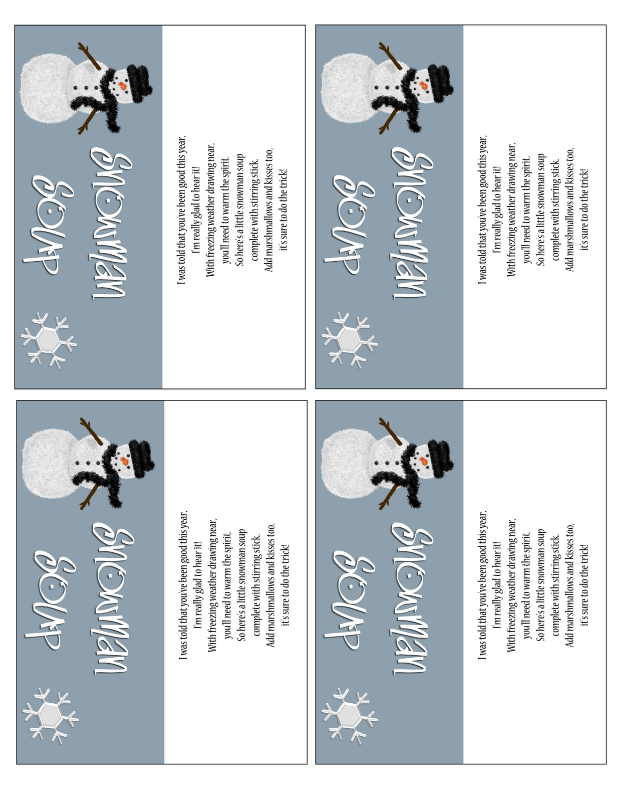 This is a graphic of Ambitious Free Snowman Soup Labels