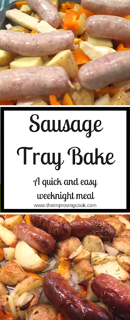 Pinnable image with text for sausage tray bake