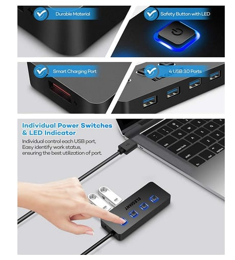 ELEGIANT 4 Port USB Hub+1 USB Smart Charging Port