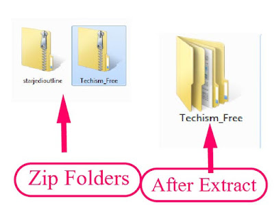 extracted folder and zip folders