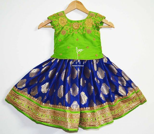 Benaras Kids Skirt Green Blouse