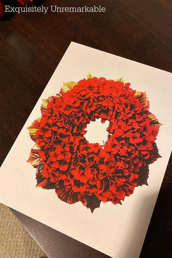 Red Hydrangea Wreath Print