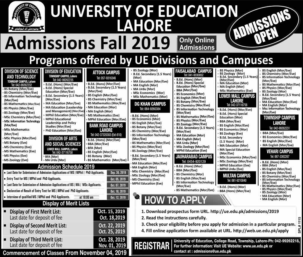Admission Notification of University of Education Lahore