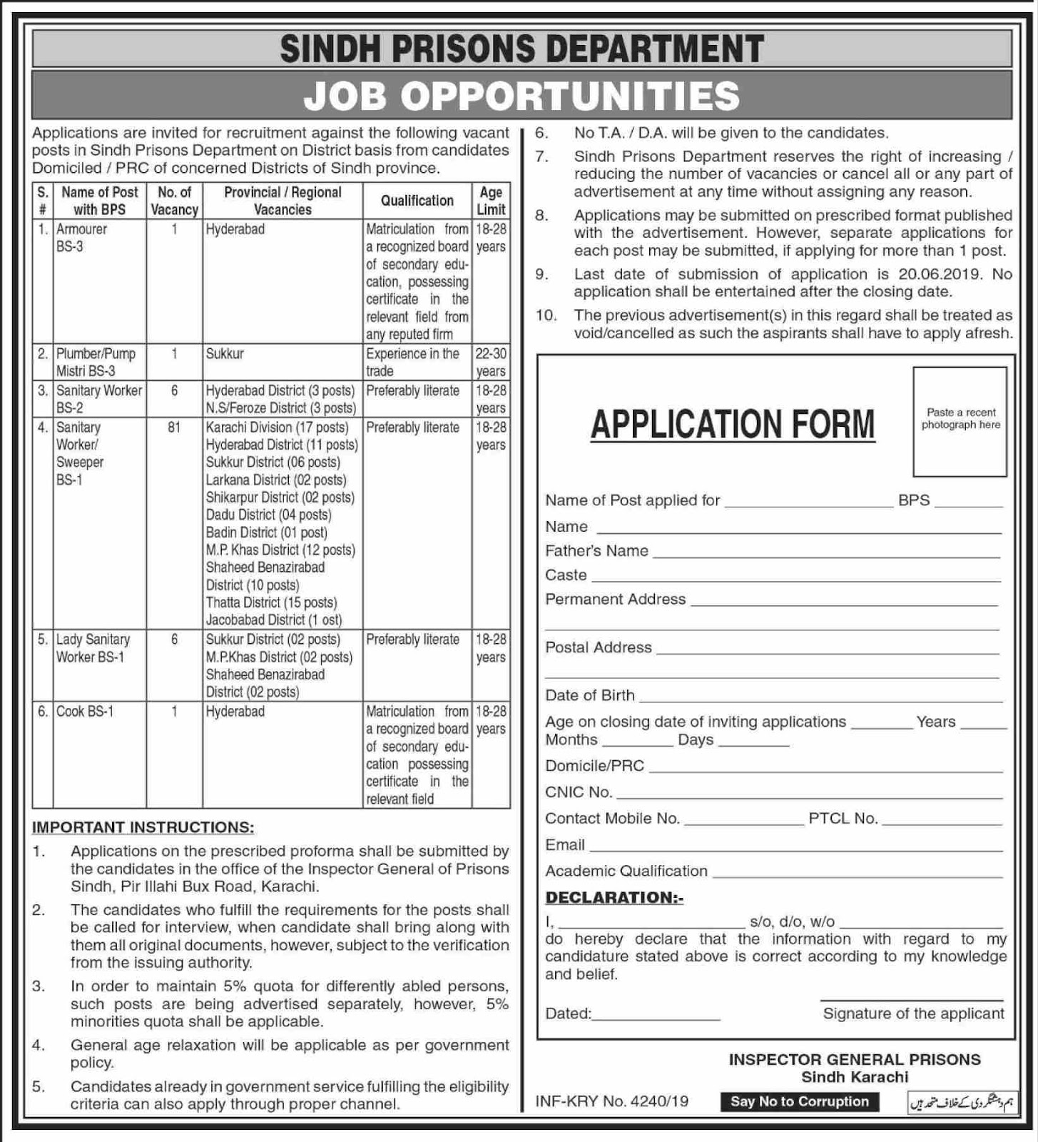 Advertisement for Sindh Prisons Department Jobs