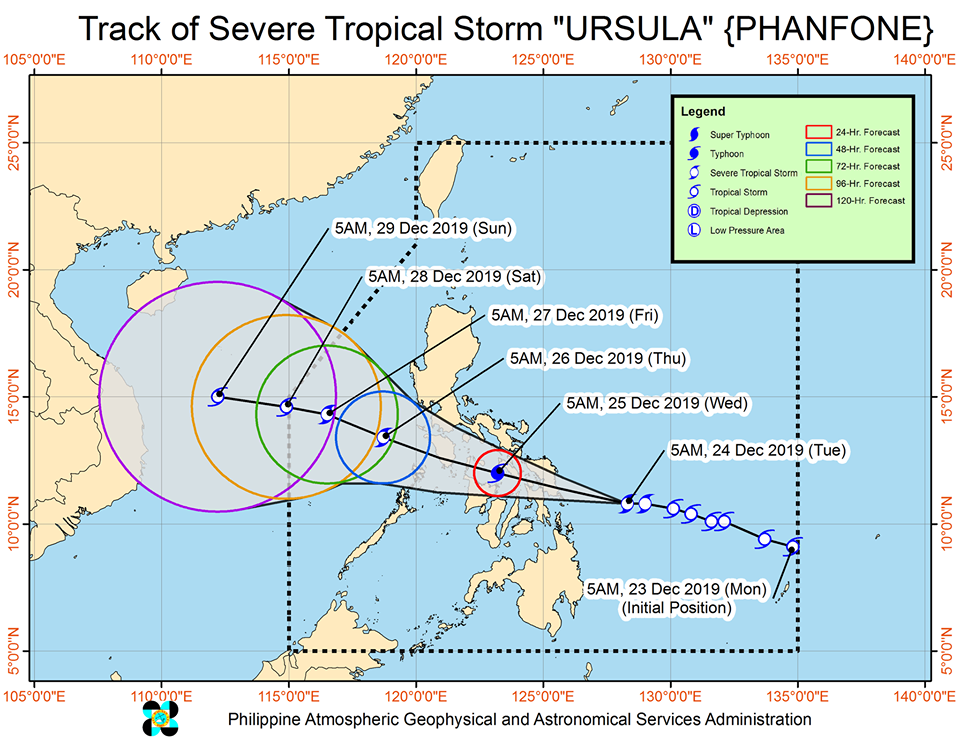 Latest track of Severe Tropical Storm 'Ursula'