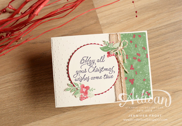 This Christmas Specialty designer paper, Peace this Christmas, Stampin' Up!, Christmas card, Papercraft by Jennifer Frost