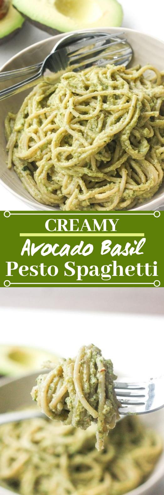 Creamy Avocado Basil Pesto Spaghetti #vegetarian #pasta