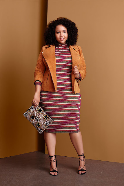 Plus Size Blogger Gabi Fresh Models Camel Suede Moto Jacket Over Striped Midi Dress ASOS AW15 Collection
