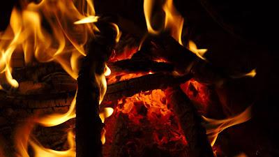 Night, fire, flame, wood, coals