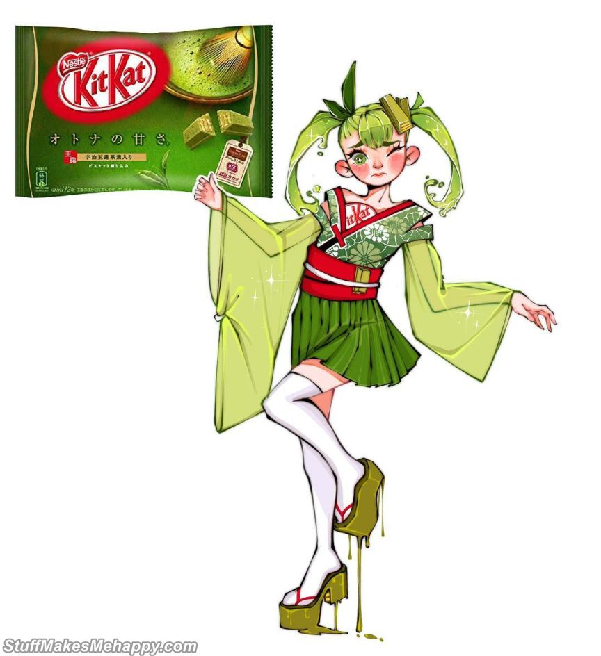 1. Kit Kat - How Dishes and Products Would Look If They Were People, Colorful Illustrations by Lyra Rei