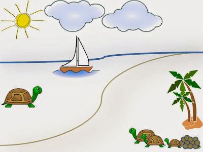Gambar pemandangan pantai kartun