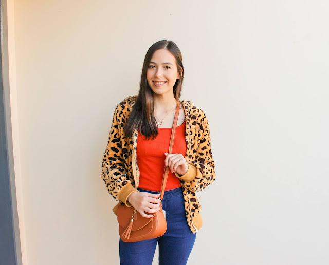 Look jaqueta estampa de leopardo + cores quentes!