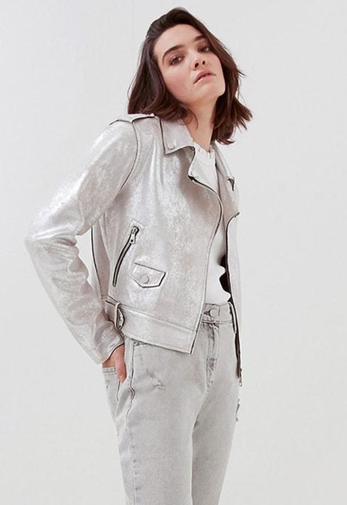 Jacheta argintie de piele ecologica cu aspect metalizat