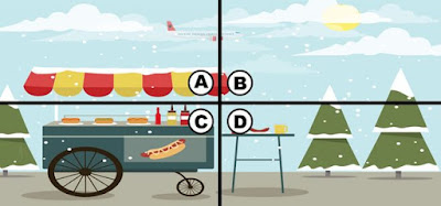 Alt-1 Q 19. Someone keeps stealing from the hotdog stand. the owner says if you help him find the thief, he'll give you some change and a free hotdog! do you see which section the culprit is in?
