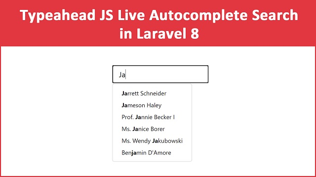 Autocomplete Search in Laravel 8 using Typeahead.js