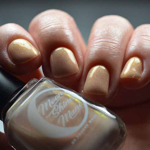 peach shimmer nail polish low light swatch