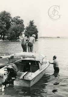 Tudhope Park Orillia - a dock in front of one the camp lots on the point at Tudhope Park, circa 1969