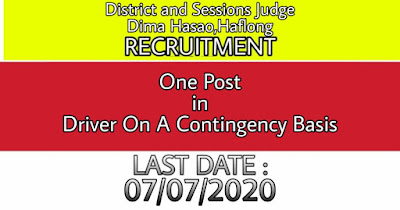 District And Sessions Judge, Dima Hasao Recruitment 2020: Apply For Driver Post