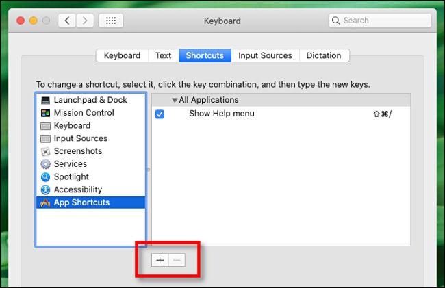 انقر فوق علامة الجمع (+) لإضافة اختصار لوحة المفاتيح.