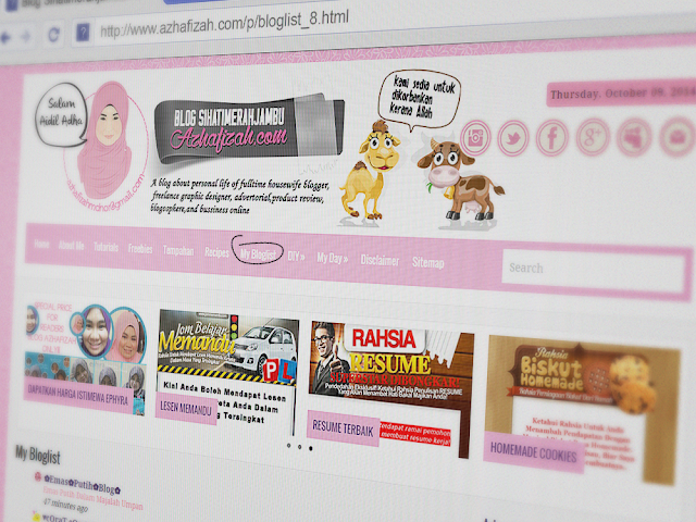 Tutorial Letak Bloglist Dalam Pages/Menu Tab