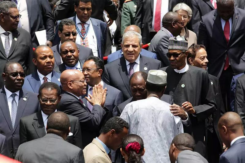 Good times ahead? President Buhari pictured laughing with other leaders in Kenya
