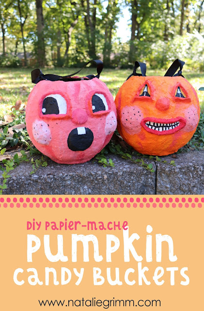 DIY Papier-Mache Pumpkin Candy Buckets