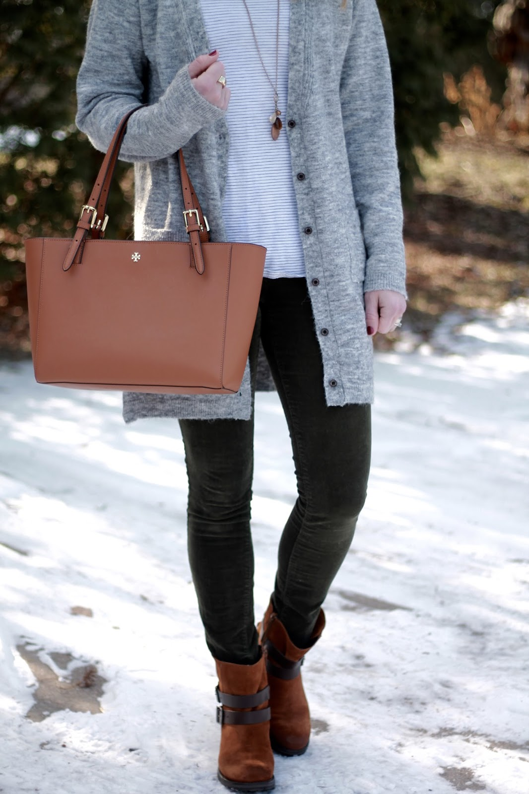 striped tee, grey boyfriend cardigan, olive corduroy pants, Tory Burch tote, brown booties
