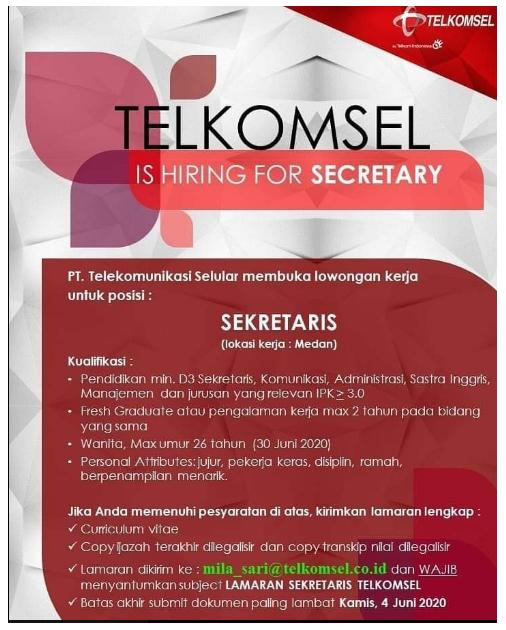 Lowongan Kerja PT Telkomsel Bulan Juni 2020