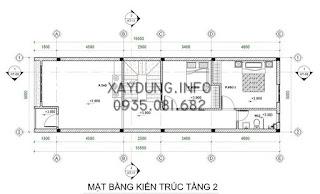 mặt bằng bố trí nội thất tầng 2 nhà phố kích thước 5x20