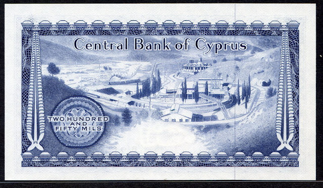 Cyprus 250 Mils bank note images of currency