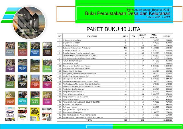 Paket Pengadaan Buku Perpustakaan Desa Anggaran 40 Juta