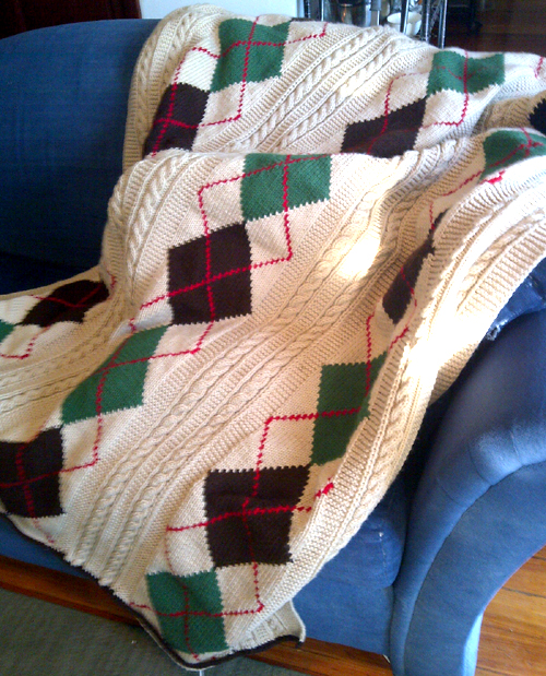 Argyle Cable Afghan - Free Pattern
