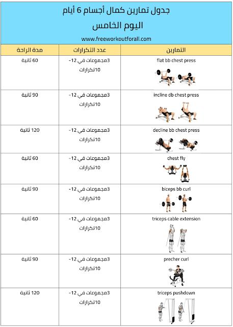 جدول تمارين كمال اجسام 6 ايام