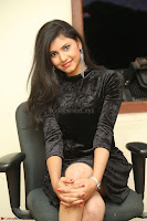 Mounika in a velvet short black dress for Tick Tack Movie Press Meet March 2017 010.JPG