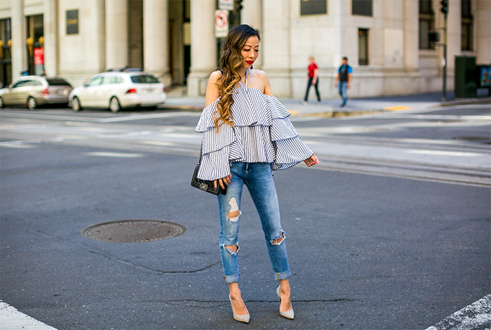 shein tiered ruffle top, tiered ruffle top, ruffle top, baublebar tassel earrings, tassel earrings, blank denim jeans, chanel boy bag, schutzl pumps, spring outfit ideas, san francisco street style, san francisco fashion blog