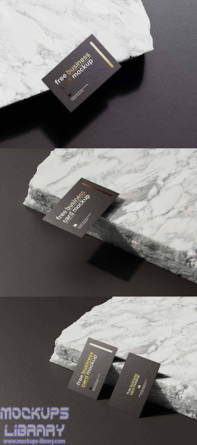 marble stone business card mockup 1