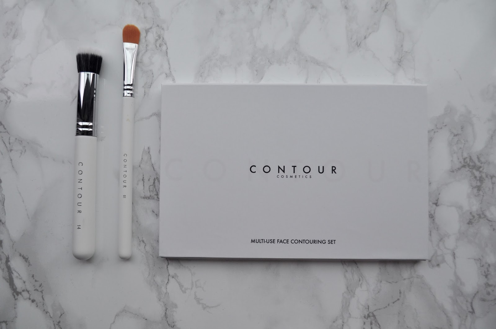 Contour cosmetics cream makeup palette white brushes bronzer concealer highlight
