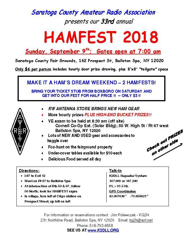 Upstate NY HAM Radio News & Information: August 2018
